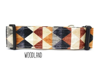 Boy Dog Collar, Tribal Dog Collar, Southwest Dog Collar, Woodland Dog Collar, Rustic Dog Collar (Upgrade to Metal Buckle or Martingale)