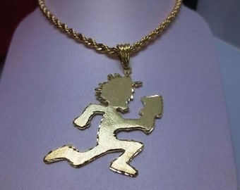 NEW-14 KT Gold Plated Hatchetman Pendant with matching 5mm gold tone Rope Chain