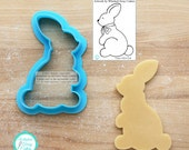 Sitting Bunny Cookie Cutter & Fondant Cutter Designed by Whisked Away Cutters - Guideline Sketch to Print Below*