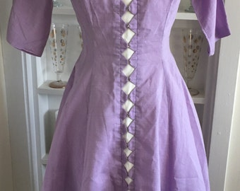 1950s 50s Vintage Lilac Harlequin Party Dress w/ Rhinestones