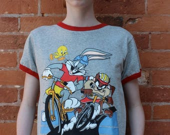 Looney Tunes 1990s Cycle Sport Ringer T-Shirt NWT, size M