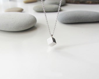 Silver cube necklace, cube necklace, minimalist necklace, tiny cube necklace, cube charm necklace