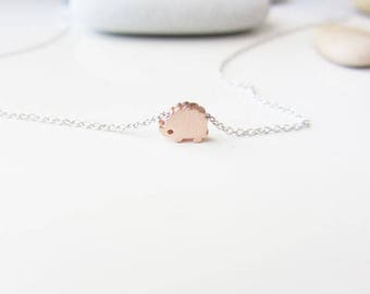 Mini hedgehog necklace,hedgehog necklace,mini charm necklace