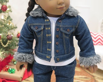 "18 Inch Doll Dark Denim Jacket w/Fur Collar - Winter Coat Jacket - American Made 18 Inch Doll Clothes - 18"" Doll Jean Jacket"