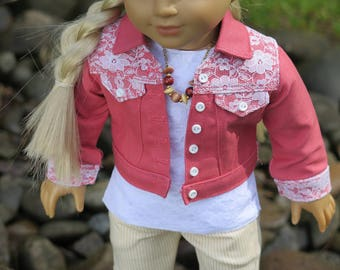 """18 Inch Doll Pink Denim Jacket With Lace - Spring Doll Jacket - American Made 18 Inch Doll Clothes - 18"""" Doll Pixie Faire Jean Jacket"""