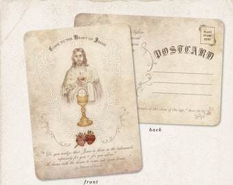 Religious Prayer Post Cards /// Jesus Postcards /// Vintage Sacred Heart /// Adoration Cards /// Catholic Cards
