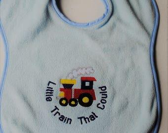 Embroidered Baby Bib * Train Bib * Baby Shower Gift * New Baby Gift