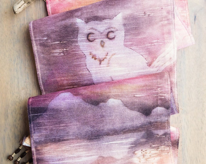 Owl Gifts-Watercolor Silk Tapestry-Owl Decor-Bird Art-Boho-Wall Hanging-Nature Art-Bohemian Tapestry-Home Decor Gift-Watercolor Home Decor