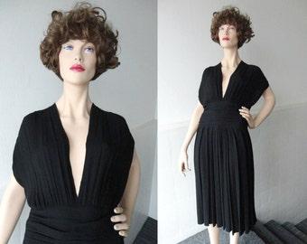 Black 40s Vintage Crepe Dress With Deep Neckline