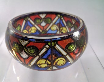 Resin Bangle with medieval stained glass window pattern