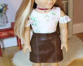 """Faux Leather Miniskirt for American Girl or 18"""" Doll"""