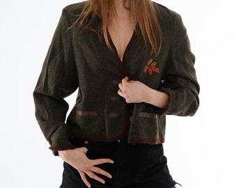 VINTAGE Cropped Wool Jacket, olive green, embroidered leaf motif, brown trim, 80s, wholesale ID:3145