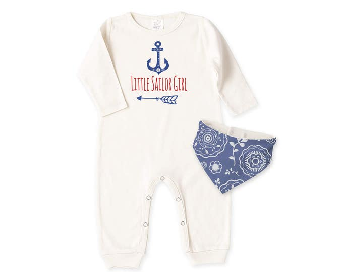 Baby Girl Fourth of July Outfit, Newborn Girl Coming Home Outfit, Baby Girl Romper, Baby Girl Sailor Outfit, July 4th Tesababe RB81IY22BDLI