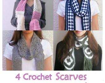 1 pattern FREE. 4 Lacy long scarves crochet patterns _ PLS2