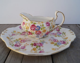 Royal Stafford Creamer and Plate Set - June Roses