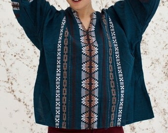 VTG 70's Mexican Folk Embroidered Top Tunic Blouse Hippie Ethnic Embroidered