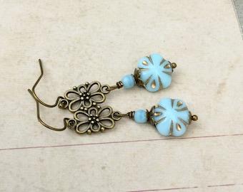 Light Blue Earrings, Blue Earrings, Antique Gold Earrings,Czech Glass Beads,Long Earrings,Flower Earrings,Unique Earrings, Gifts for Her