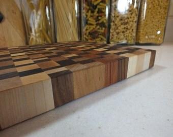 Random woods end grain cutting board