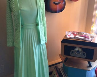 Gorgeous Mint Green 1960's Mad Men Gown with Jeweled Belt and Jacket