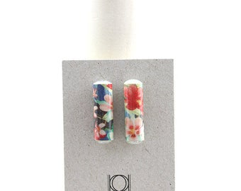 BO Aglaia nail golden rectangle paper pattern Tropical colorful graphic Floral
