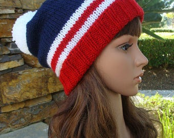 Fourth Of July Beanie, 4th of July Patriotic Beanie with fold up brim and Pom-pom, Patriotic Knit Beanie, Best Fits Size Teen/Adult