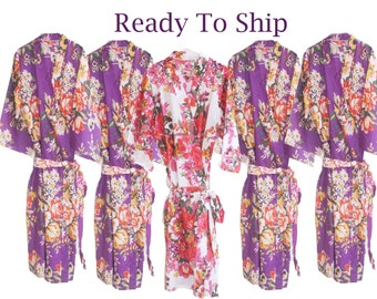 Ready To Ship Bridesmaids Robes/ Floral Patterned Robes/ Kimono Crossover Robes/ Wedding favors/ perfect Bridesmaids Gifts/
