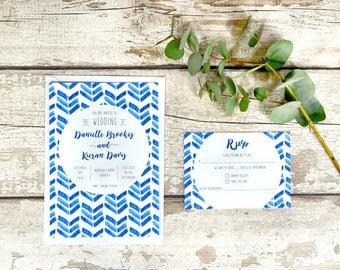 Santorini Spirit Wedding Invitation Set | Blue Watercolour Chevron Pattern Wedding Invite & RSVP | Sample set