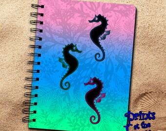 Seahorse Notebook Gift/Nautical Seahorses Spiral Journal/Ocean Seahorse Diary Notebook/Seahorse Art Writing Journal Gift/Marine Life Diary