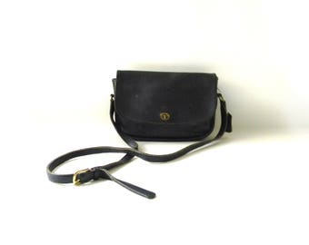 Vintage COACH Black Leather Crossbody Purse