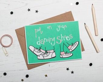 Celebration Card, Screen Printed Birthday Greetings Card - Dancing Shoes