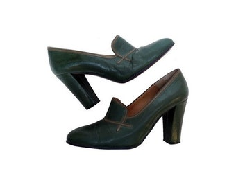 1960s italian green leather high heels MARY JANES shoes  // size eu 36-uk3.5 -us5