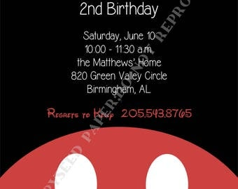 Mickey Mouse Birthday Invitation- Personalized -Digital File or Printed Invitation- Double Sided