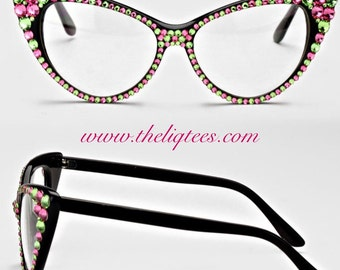 Pink and Green Bling Fashion Glasses