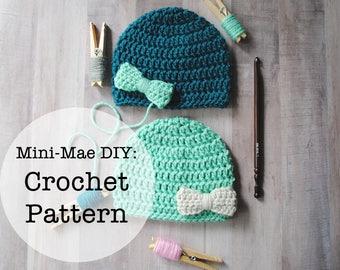 Crochet Pattern, Crochet Baby Hat Pattern, Hat Pattern, Crochet, Crochet Hat Pattern, Bow Hat Pattern, Newborn Hat Pattern, Crochet Newborn