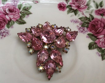 Pink and Aurora Borealis Prong Set Rhinestone Brooch