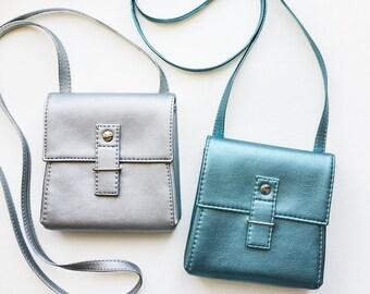 "Metallic bag ""Ponika"", silver bag, teal bag, small cossbody bag, shoulder bag, small bag, vegan bag"