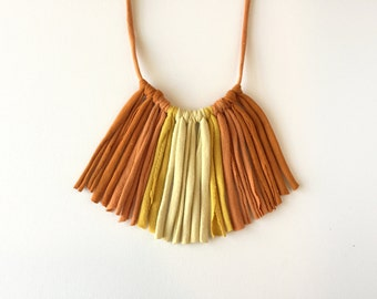 Orange Sunburst Ombre Fringe Necklace, Fabric Jewelry, T-Shirt Necklace, Eco-Friendly Gifts, Recycled Necklace, Unique Statement Necklace