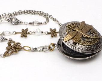 Dragonfly Locket, Picture Locket, Photo Locket Necklace, Large Vintage Style Locket, Large Photo Locket, Large Locket Necklace, Gift For Me