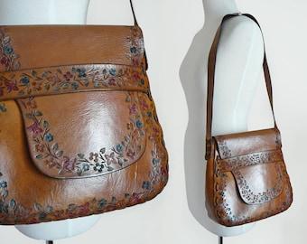 60s 70s Floral Hippie Hand Tooled Brown Leather Flower Large Saddle Shoulder Bag Purse / Bohemian Festival