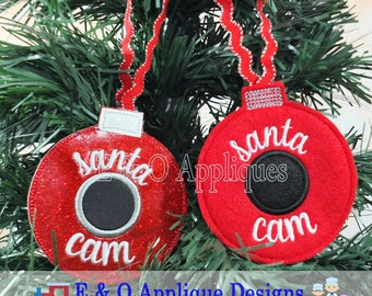 Santa Cam Ornament Embroidery Design, In The Hoop Embroidery, Christmas Ornament Embroidery, ITH Santa Cam Ornament, Christmas Embroidery