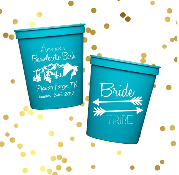 Bachelorette party cups, personalized plastic cup, Bride tribe cups, Wedding cups, custom wedding shower favor, cabin weekend cups