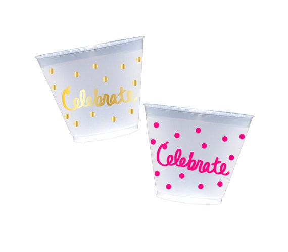 Frosted party cups, celebrate shatterproof cups, disposable wine glasses, froated wine cups, reusable cups, birthday party cups, pool cups