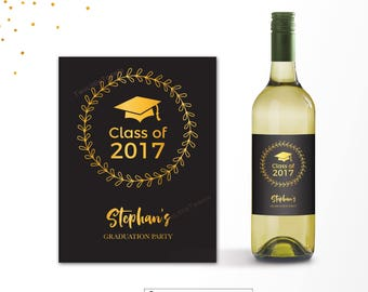 Graduation Wine bottle labels- Graduation champagne labels - Black and gold graduation labels - Graduation party decor- graduation party