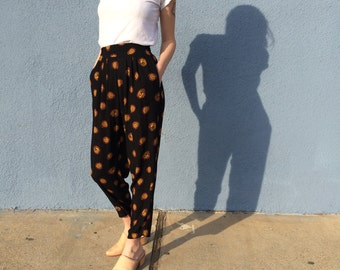 Black Printed Pants Size Small, High Waisted Tapered Leg Pants, Rayon Black and Orange High Waist Pants Small, Vintage Harem Pants Small
