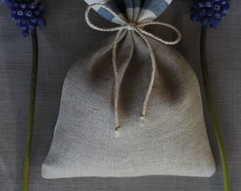 Wedding favor bags - Linen scent sachets - Set of 45 linen bags - Natural/White/Blue striped linen - Handmade in Lithuania - Made to order