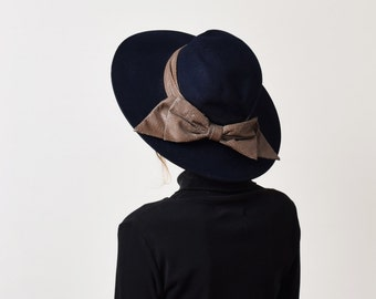 Navy Wool Wide Brim Hat with Faux Snakeskin Ribbon Vintage Womens Ribbon Bow Hat
