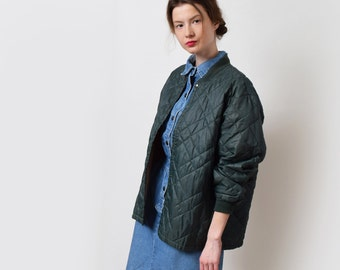 Quilted Hunter Green Bomber Jacket Vintage Nylon Sportswear Normcore XS S M L