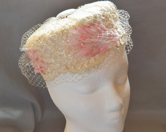 Beautiful Vintage Pillbox Hat - White Raffia with Pink Silk Flowers and Veil, 1950s or 1960s