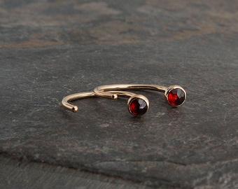 Red Garnet Stone Open Hoops Dainty Earrings Hugging Hoop Earrings Stud Earrings Gold Handmade Earrings Tiny Earrings Garnet 3mm