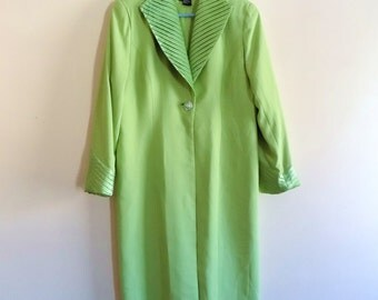 90s Dress Jacket, Satin Trim, 1990s, Chartreuse, Green, Lime, Long Jacket, Formal, Duster, Chantelle, Size 14, Womens Vintage Clothing